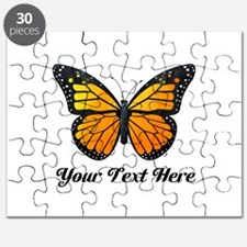 Orange Butterfly Custom Text Puzzle