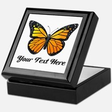 Orange Butterfly Custom Text Keepsake Box