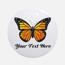 Orange Butterfly Custom Text Ornament (Round)
