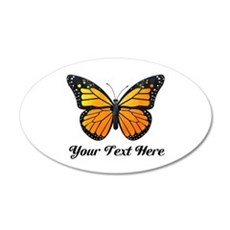 Orange Butterfly Custom Text Wall Decal