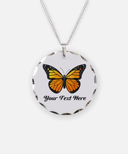 Orange Butterfly Custom Text Necklace