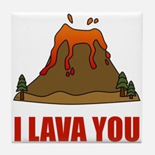 I Lava You Volcano Tile Coaster
