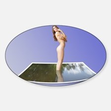 Beautiful Nude Brunette in Water Photo Decal