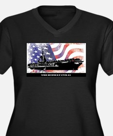 USS MIDWAY WITH FLAG Plus Size T-Shirt