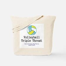 Volleyball Slogan Tote Bag