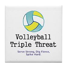 Volleyball Slogan Tile Coaster