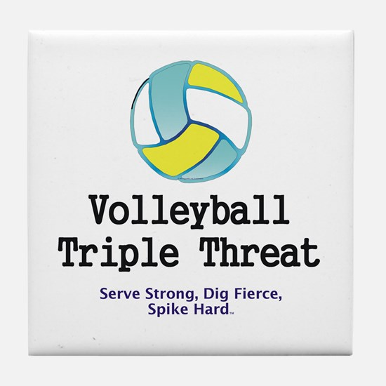 Volleyball Slogan Tile Coaster