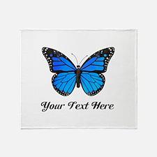 Blue Butterfly Custom Text Throw Blanket