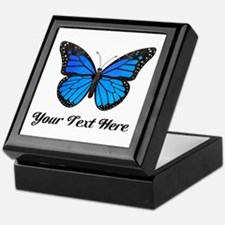 Blue Butterfly Custom Text Keepsake Box