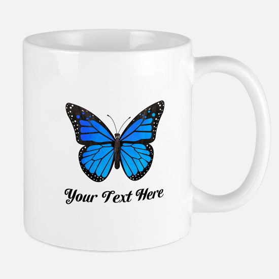Blue Butterfly Custom Text Mug