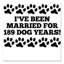 "27th Anniversary Dog Years Square Car Magnet 3"" x"