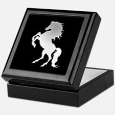 Silver stallion on black Keepsake Box