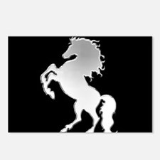 Silver stallion on black Postcards (Package of 8)