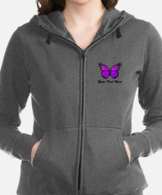 Purple Butterfly Custom Text Women's Zip Hoodie