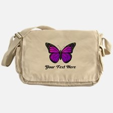 Purple Butterfly Custom Text Messenger Bag