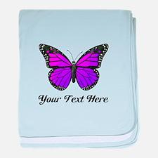 Purple Butterfly Custom Text baby blanket