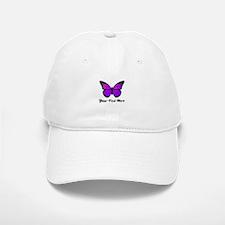 Purple Butterfly Custom Text Baseball Baseball Cap