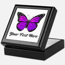 Purple Butterfly Custom Text Keepsake Box