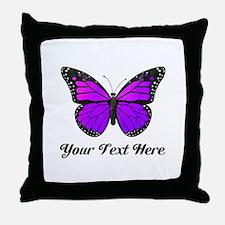 Purple Butterfly Custom Text Throw Pillow