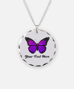 Purple Butterfly Custom Text Necklace