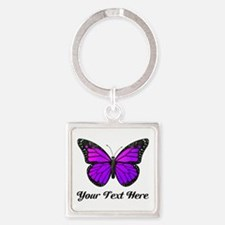 Purple Butterfly Custom Text Square Keychain