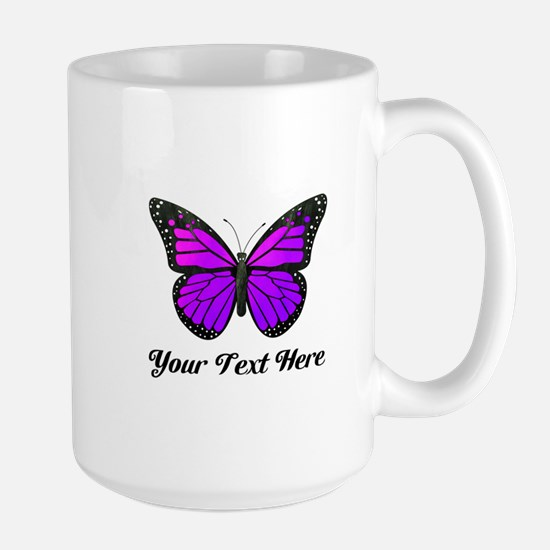 Purple Butterfly Custom Text Large Mug