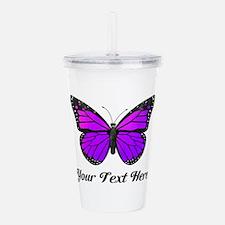 Purple Butterfly Custo Acrylic Double-wall Tumbler