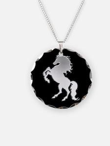 Silver stallion on black Necklace