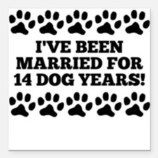 """2nd Anniversary Dog Years Square Car Magnet 3"""" x 3"""
