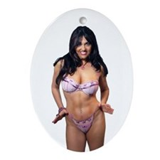 Sexy Mature Woman in Lingerie (6) Ornament (Oval)