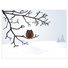 Owl in winter Poster