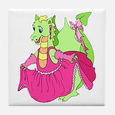 Pink Dress Dragon Tile Coaster