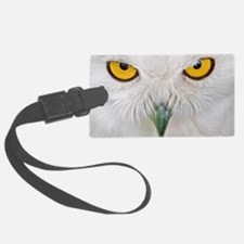 Owl with yellow eyes Luggage Tag