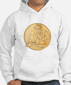 Homemaker Ironing Clothes Vintage Etching Hoodie