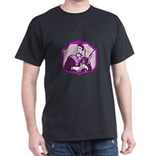 Scotsman Playing Bagpipes Shield Retro T-Shirt