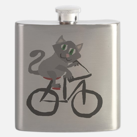 Grey Cat Riding Bicycle Flask