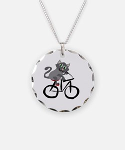 Grey Cat Riding Bicycle Necklace