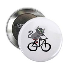 "Grey Cat Riding Bicycle 2.25"" Button"
