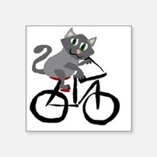 "Grey Cat Riding Bicycle Square Sticker 3"" x 3"""