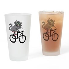 Grey Cat Riding Bicycle Drinking Glass