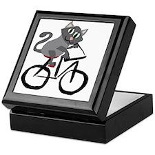 Grey Cat Riding Bicycle Keepsake Box