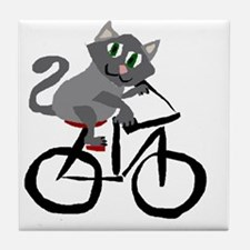Grey Cat Riding Bicycle Tile Coaster