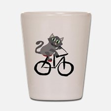 Grey Cat Riding Bicycle Shot Glass