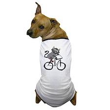 Grey Cat Riding Bicycle Dog T-Shirt