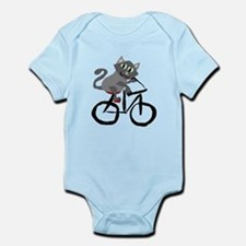 Grey Cat Riding Bicycle Body Suit
