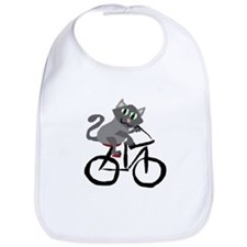 Grey Cat Riding Bicycle Bib