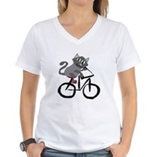 Grey Cat Riding Bicycl T-Shirt