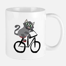 Grey Cat Riding Bicycle Mugs