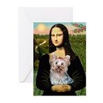 Mona & her Yorkie (T) Greeting Cards (Pk of 20)