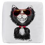 Black-White Cartoon Cat (sg) Cube Ottoman